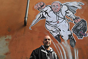 Pope Francis I Superman Mural