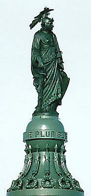 The Roman Fasces symbols surround the Statue of Freedom, which sits on top of the Dome of the United States Capitol.