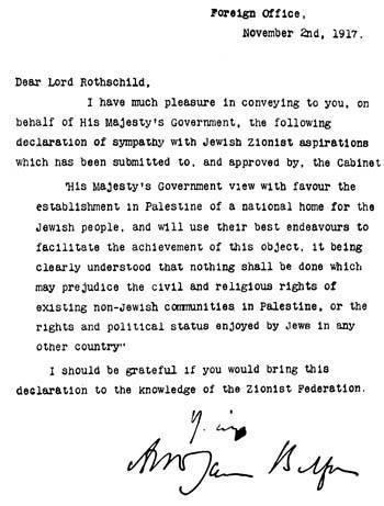 Palestine Balfour Letter to Rothchild