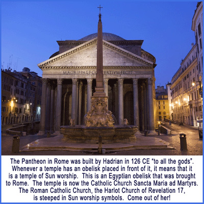 Pantheon in Rome pagan sun temple of Roman Catholic Church
