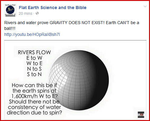 Flat earth rivers prove no gravity