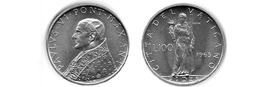 Pope Paul VI 1963 coin with semiramus holding a cup and a cross