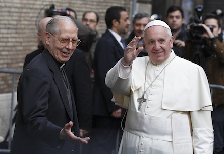 Father Adolfo Nicolas, Jesuit superior general, welcomes Pope Francis as he arrives to celebrate Mass at the Church of the Gesu in Rome Jan. 3. The pope celebrated Mass with 300 of his Jesuit confreres in thanksgiving for the recent canonization of Jesuit St. Peter Faber.