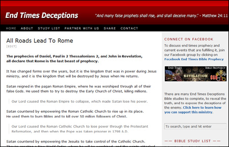 End Times Deceptions website features Bible studies that reveal the truth about who is the antichrist beast of Revelation, the Little Horn of Daniel, and the Son of Perdition of 2 Thessalonians 2.